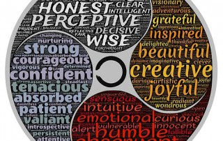 "Circle with words indicating life goals like ""wise"". 2creative"", ""joyful"""