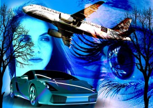 Airplane, luxury car, a girl desiring